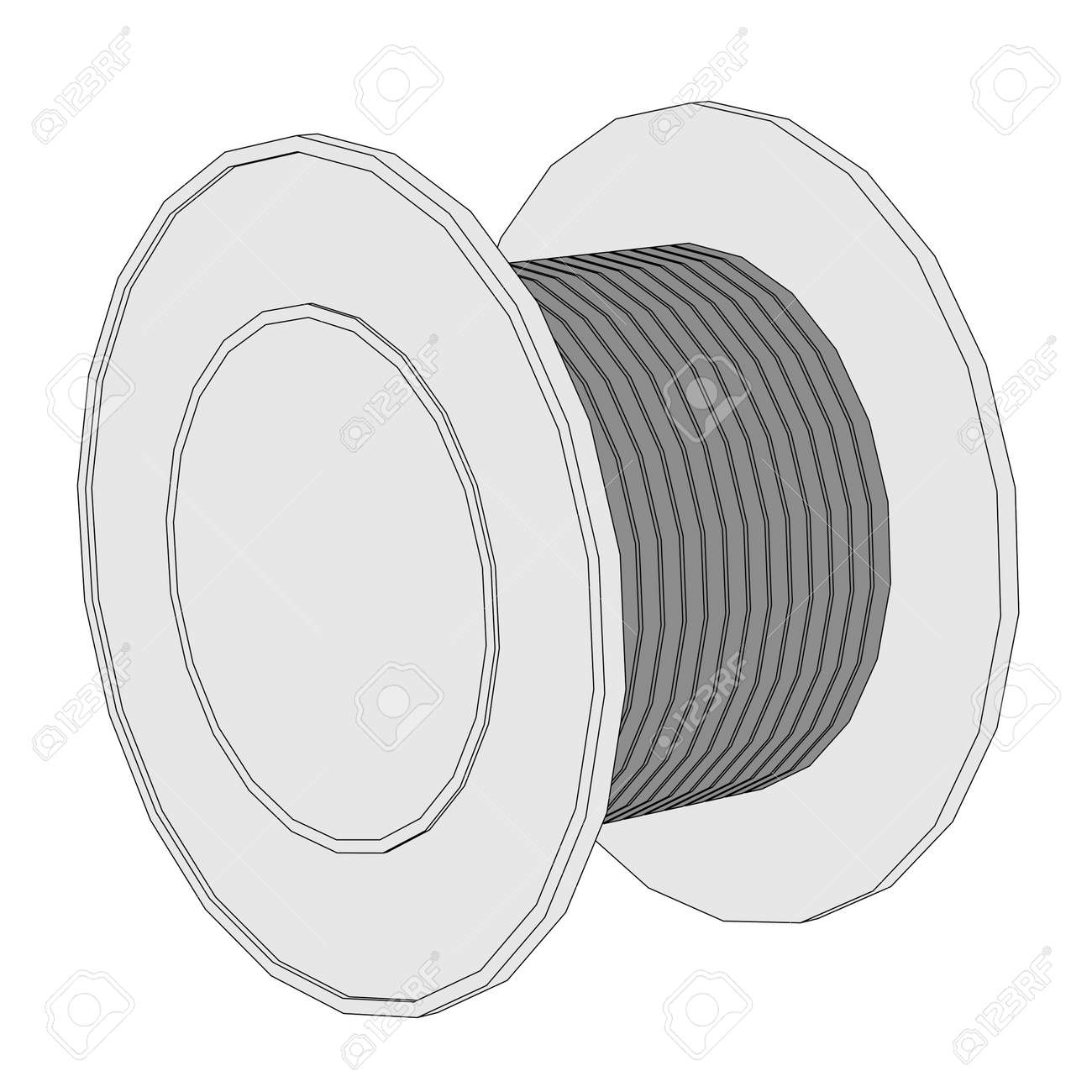 Cartoon Image Of Wire Spool Stock Photo, Picture And Royalty Free ...