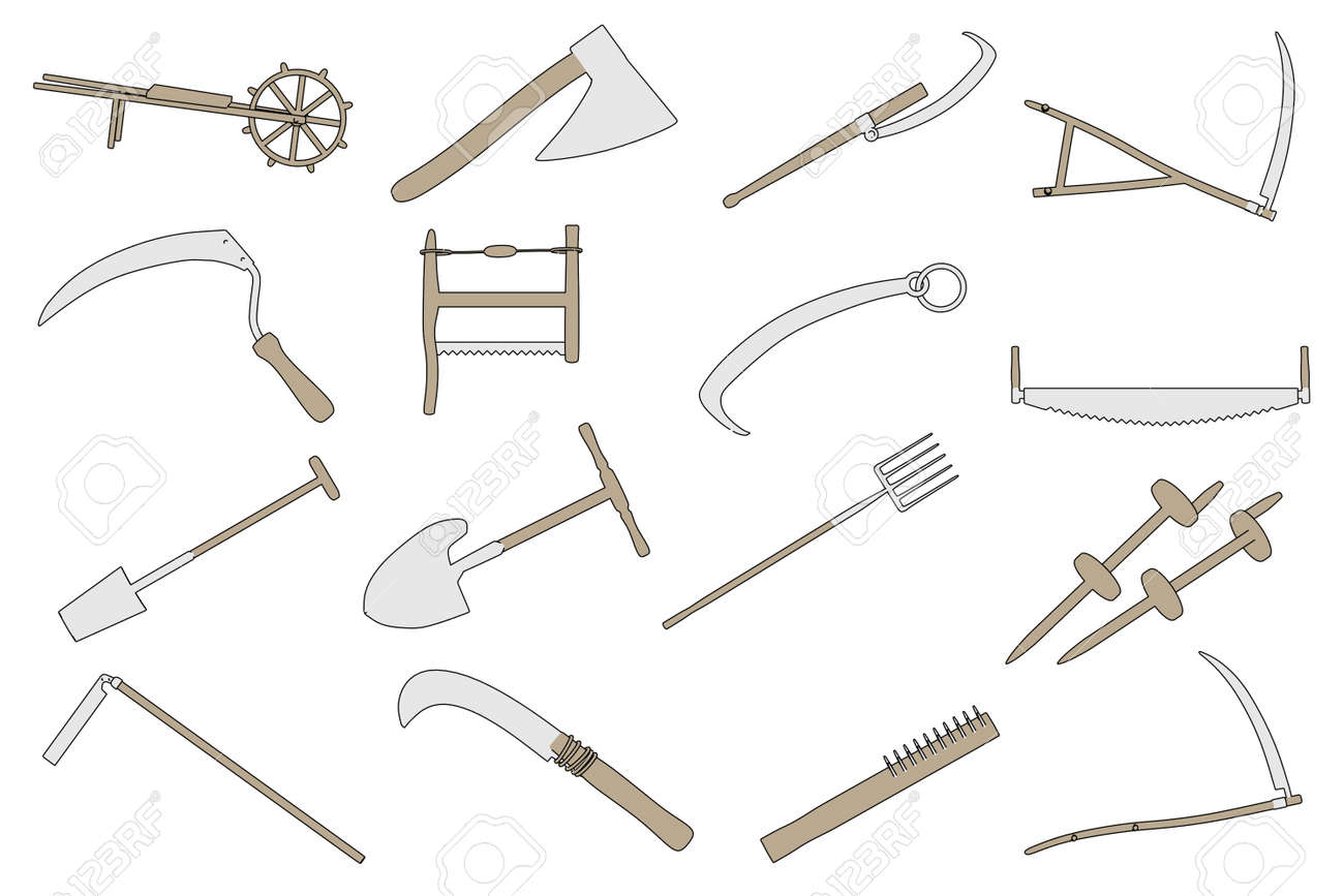 Cartoon Image Of Farming Tools Stock Photo, Picture And Royalty ...