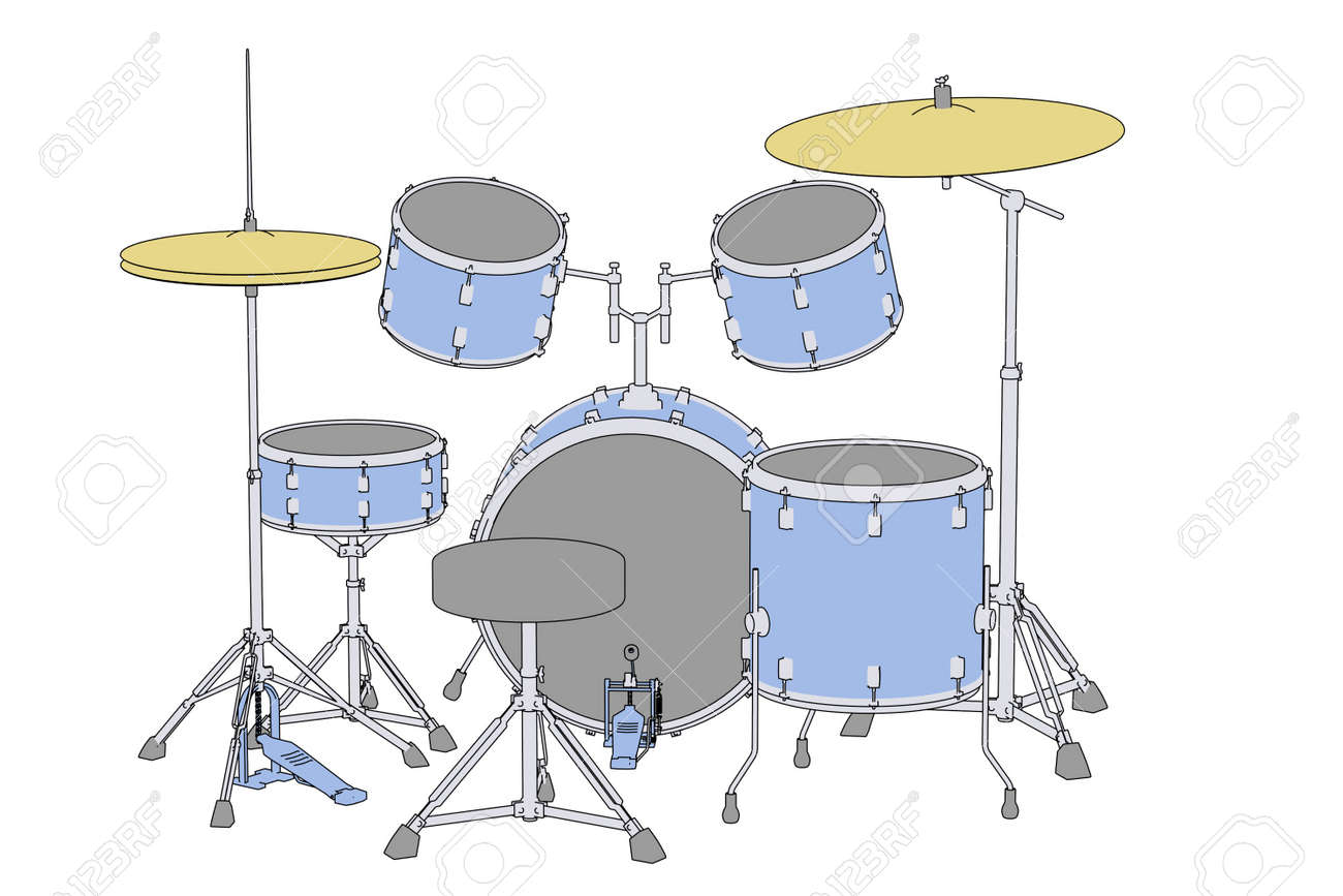 Cartoon Image Of Musical Instruments Drum Set Stock Photo Picture
