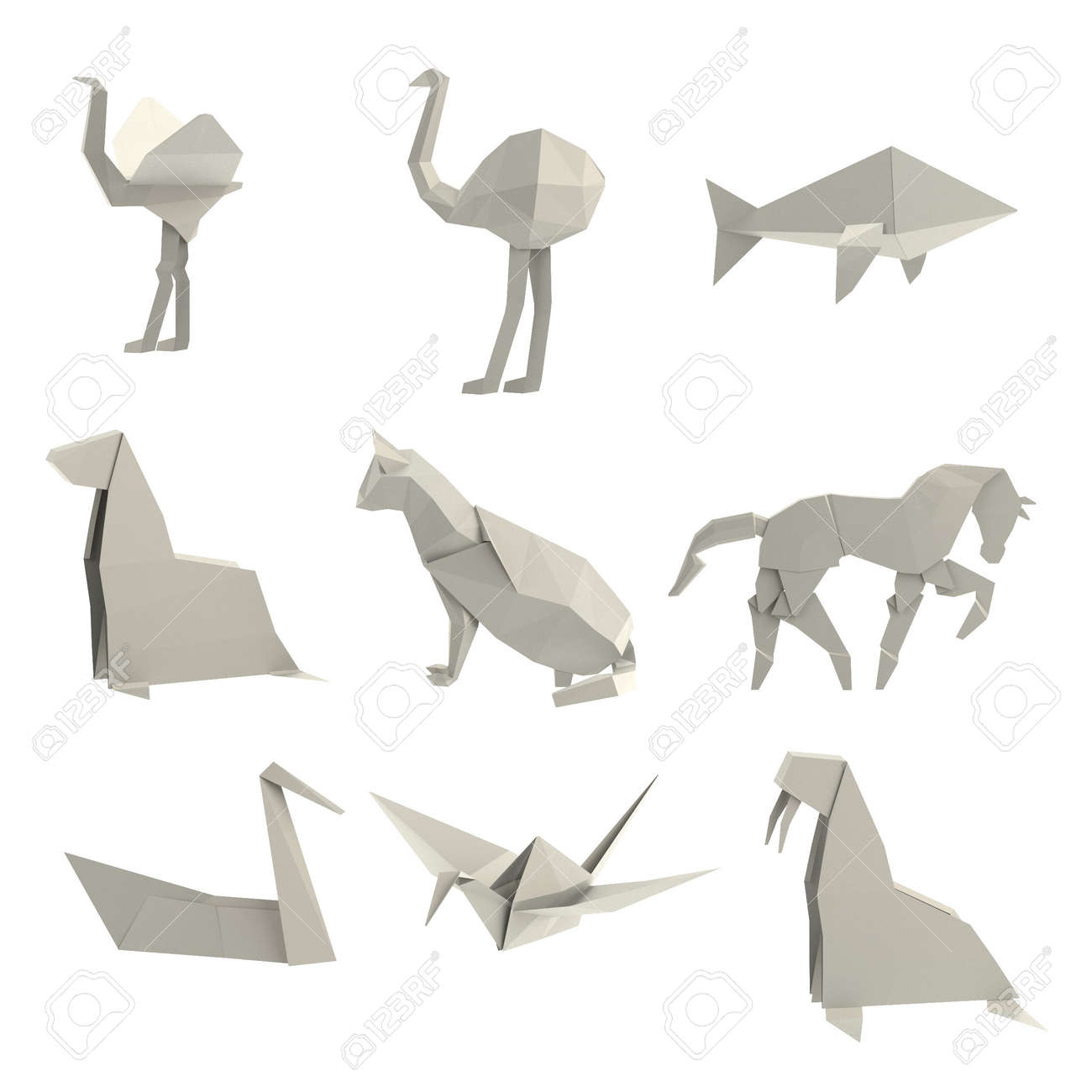 realistic 3d render of origami animals