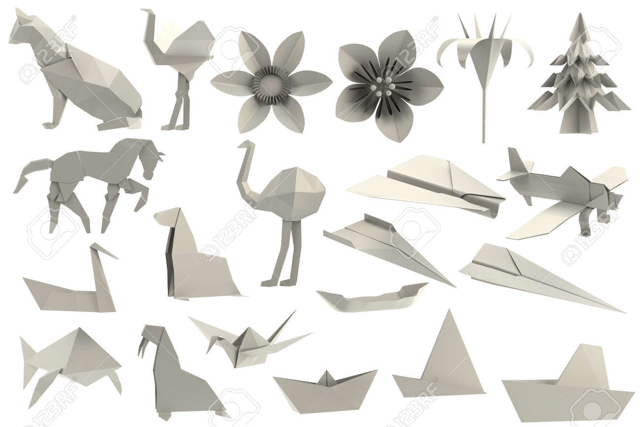 Realistic 3d Render Of Origami Toys Stock Photo