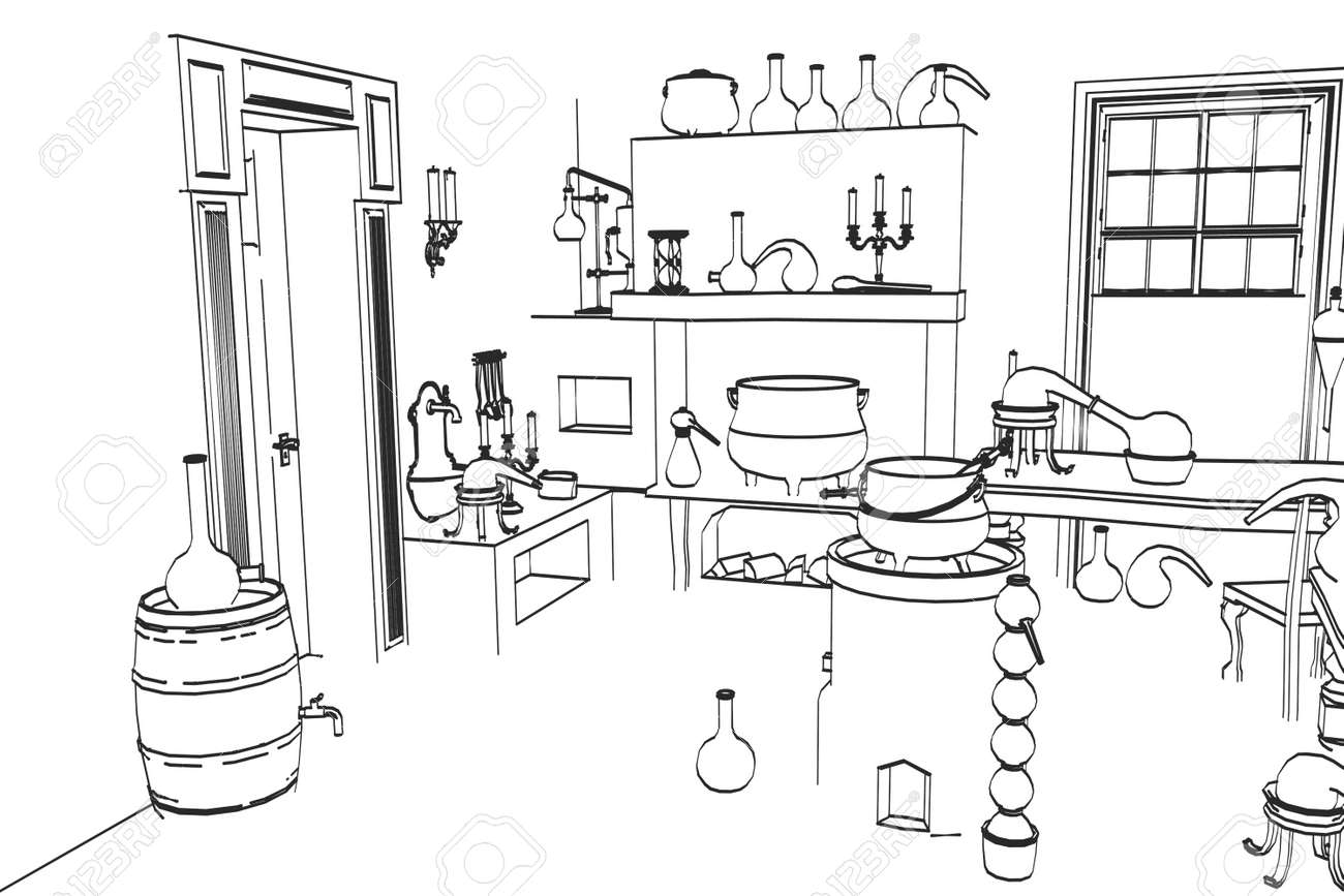 2d cartoon illustration of alchemy lab stock photo picture and