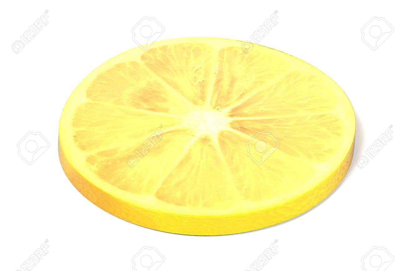 realistic 3d render of lemon slice on white backround