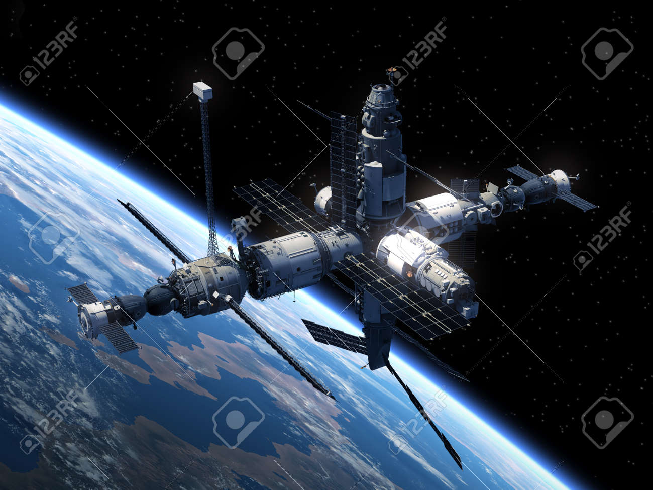 Space Station Orbiting Earth. Realistic 3D Scene. - 38012932
