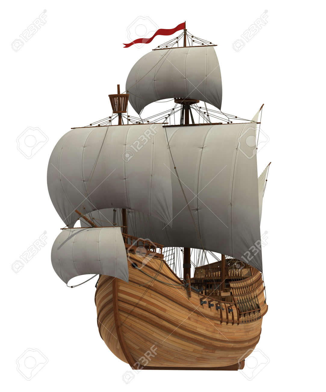 Caravel With White Sails On White Background. 3D Scene. - 40040217