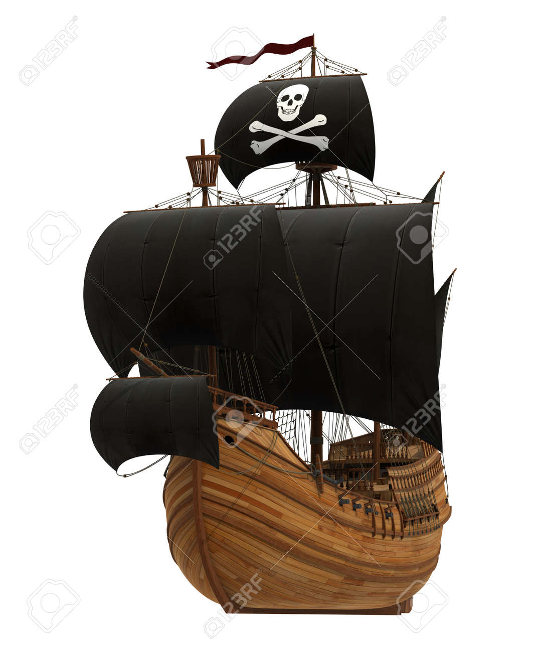 Pirate Ship On White Background. 3D Model. - 40040216