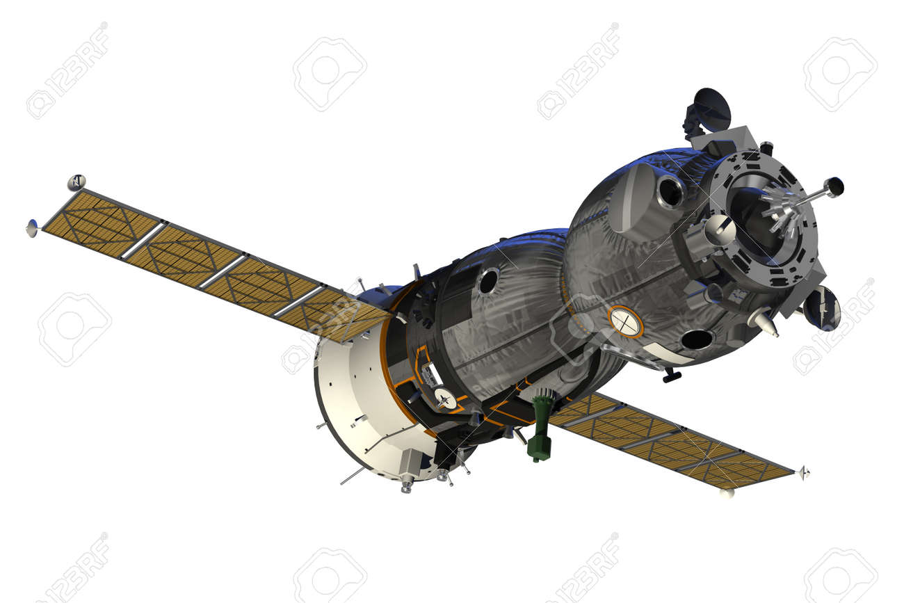 Spacecraft With Open The Solar Panels. 3D Model. - 40904074