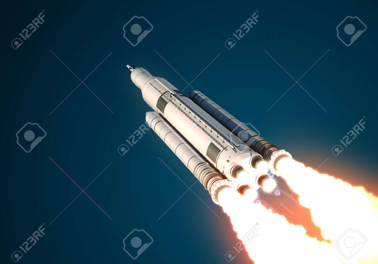 Space Launch System Takes Off. 3D Scene. - 42271966