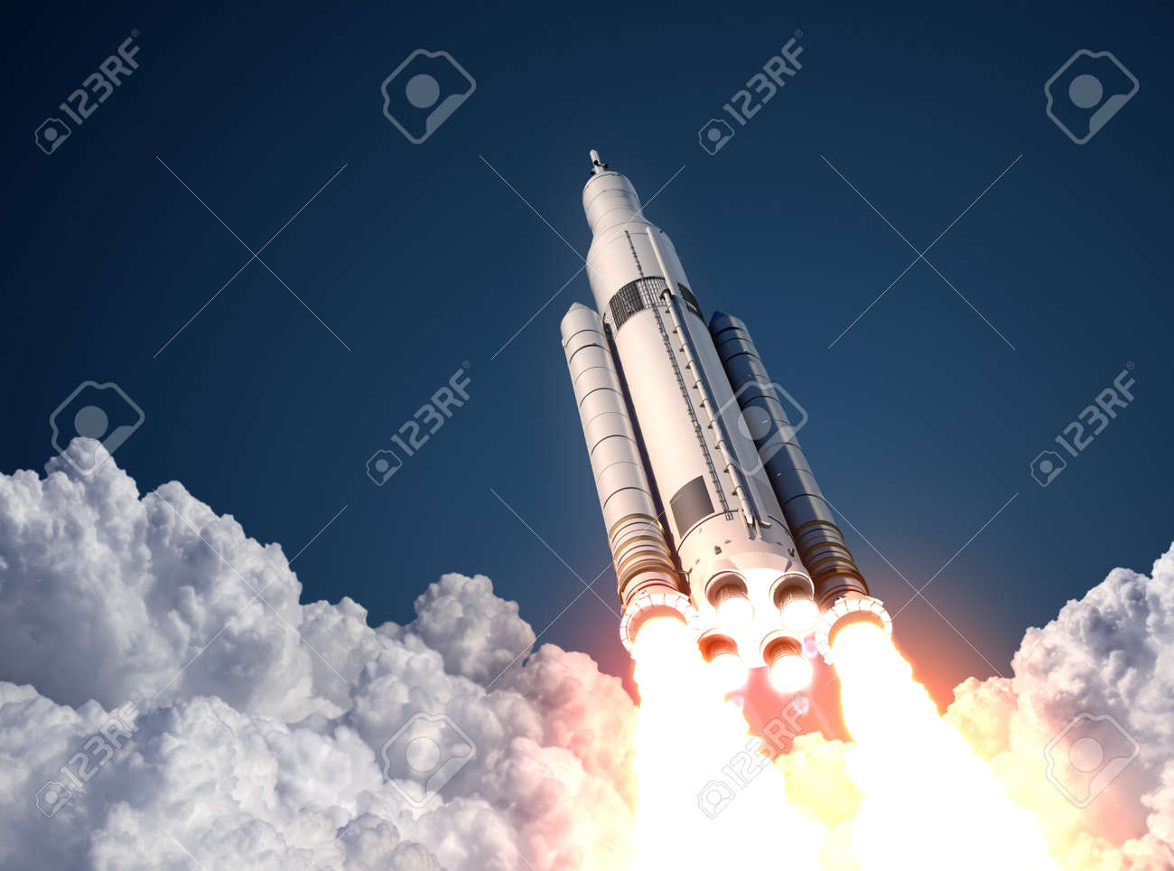Space Launch System Takes Off. 3D Scene. - 42271967