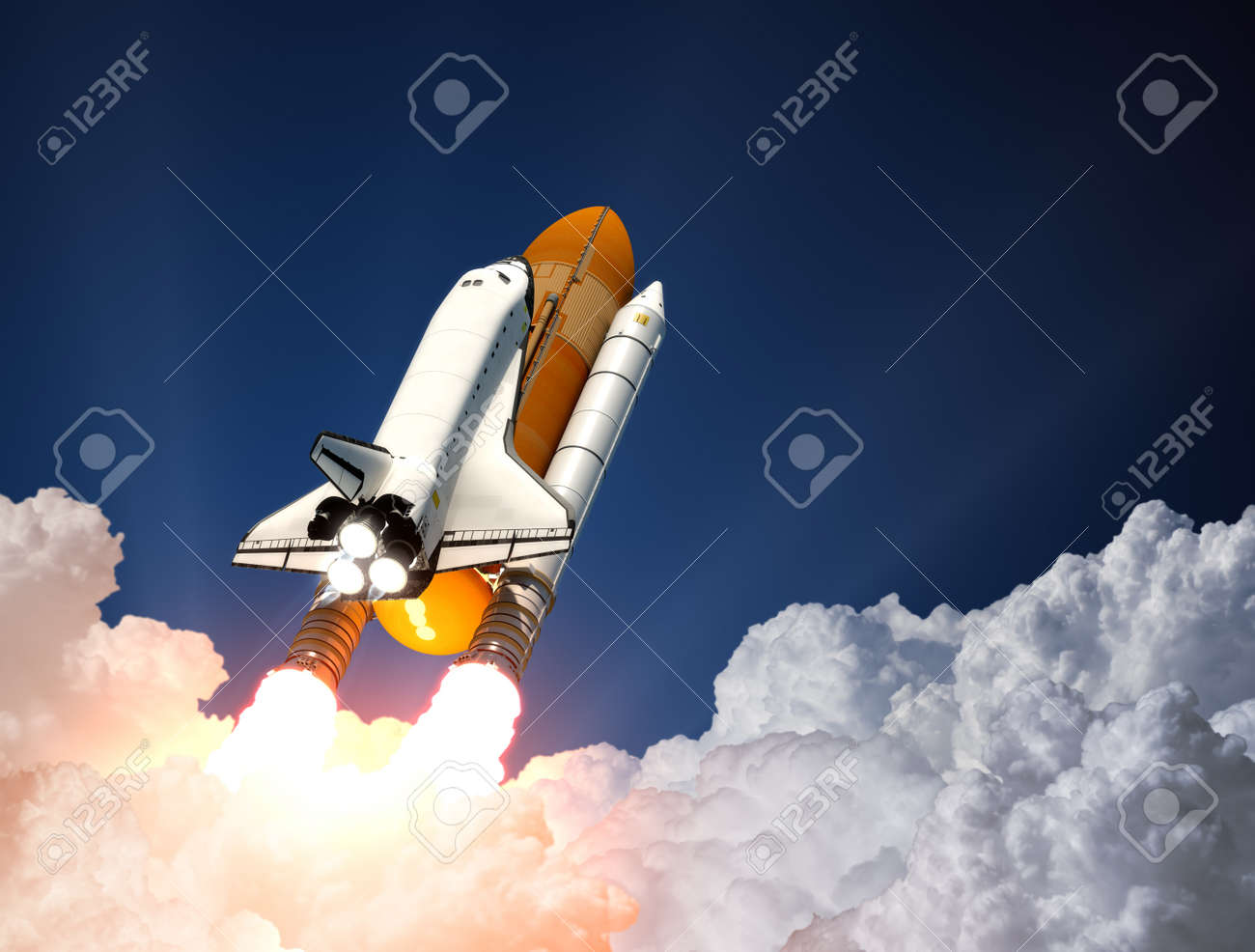 Space Shuttle Over The Clouds. 3D Scene. - 42271968