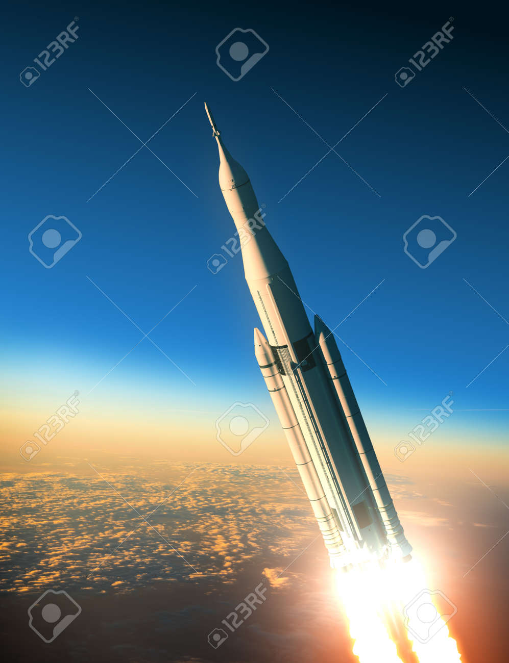 Space Launch System Over The Clouds. 3D Scene. - 44667671