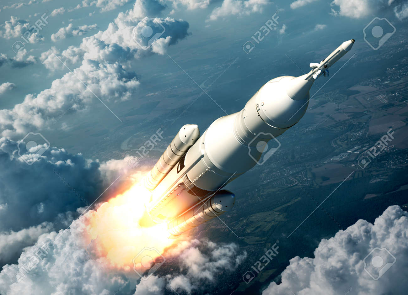 Space Launch System Flying Over The Clouds. 3D Scene. - 44667672