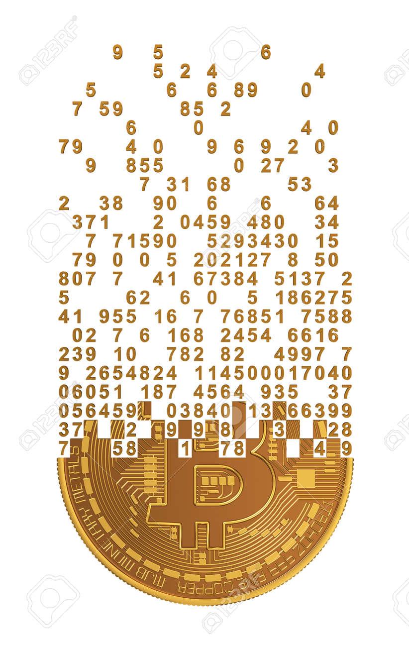 Bitcoin Falling Apart To Digits. 3D Model. - 45962574