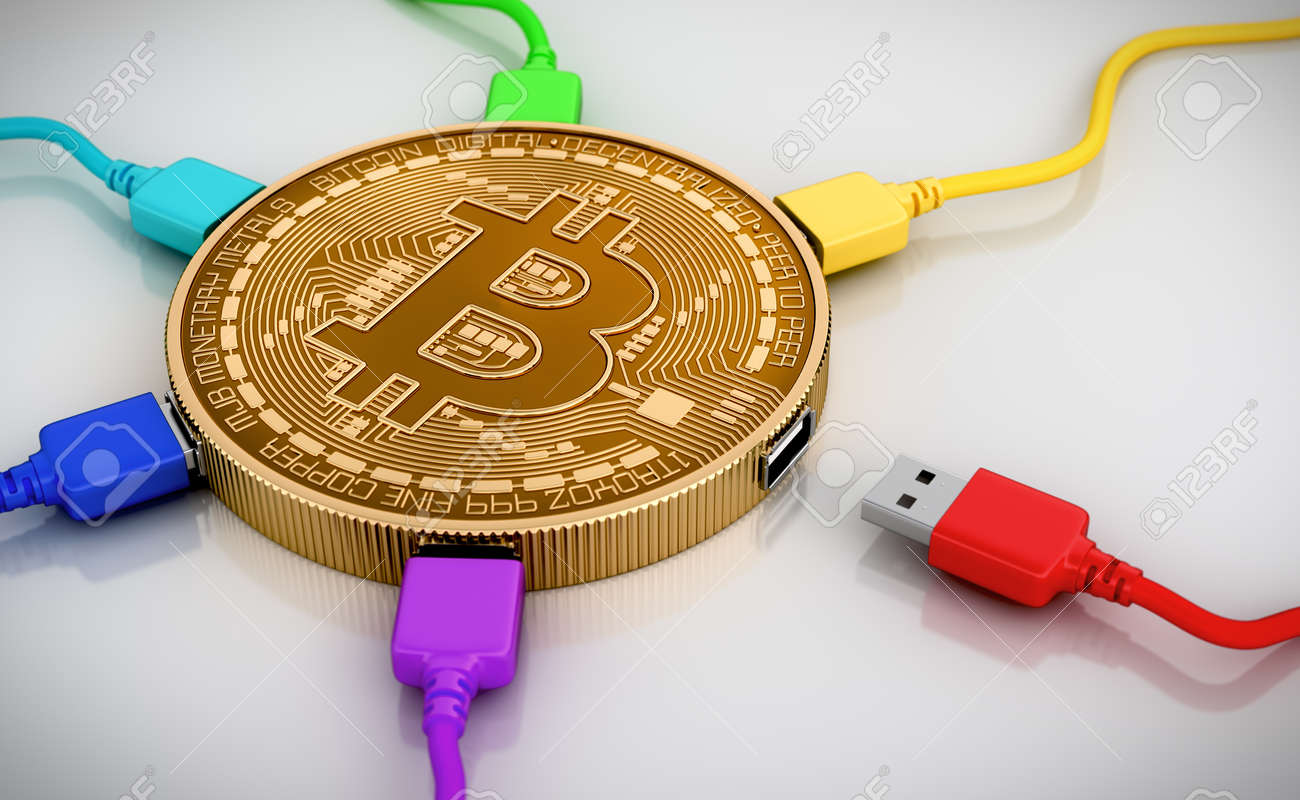 Color USB Wires Connected To The Bitcoin. 3D Scene. - 45962584