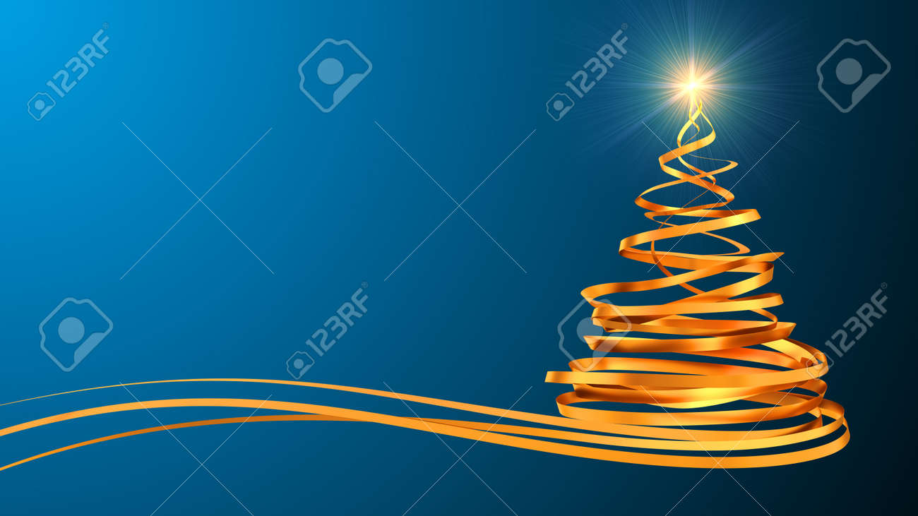 Christmas Tree From Gold Tapes Over Cyan Background. 3D Scene. - 47400477