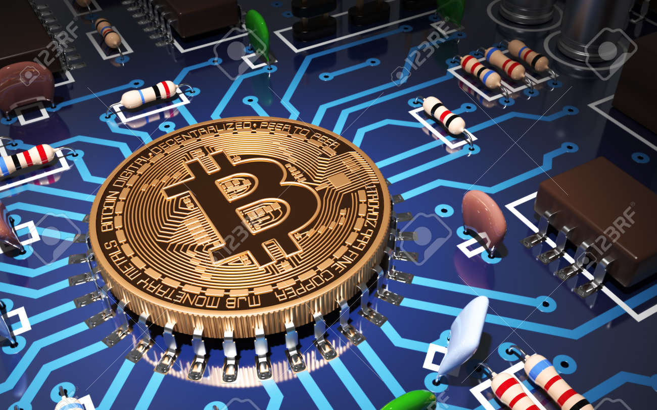 Concept Of Bitcoin Like CPU On Motherboard. 3D Scene. - 49771541