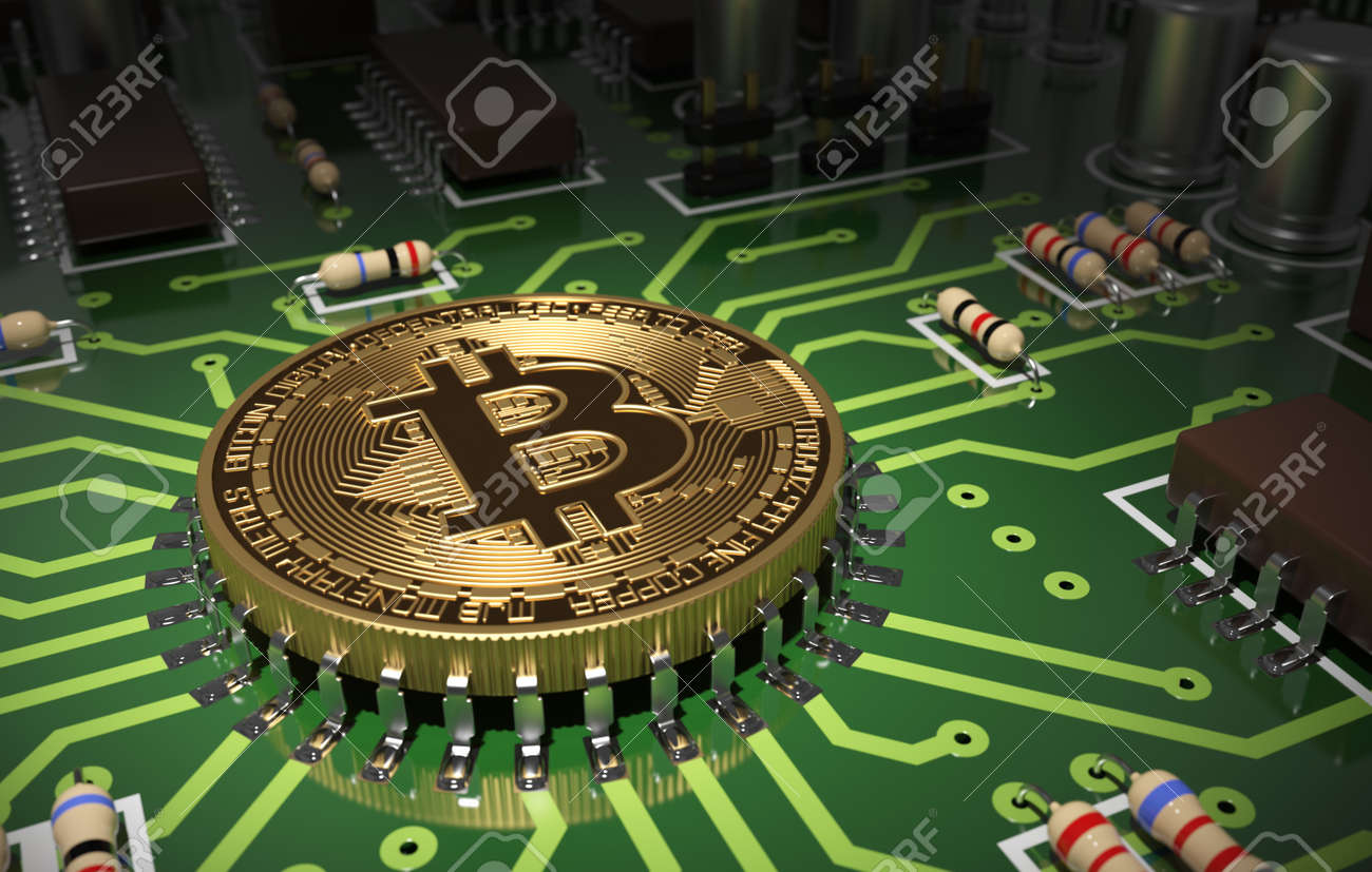 Concept Of Bitcoin Like A Computer Chip On Motherboard. 3D Scene. - 49771542