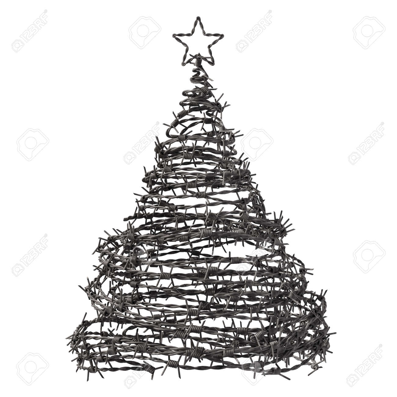Wire Christmas Tree.Christmas Tree Made From Barbed Wire 3d Model
