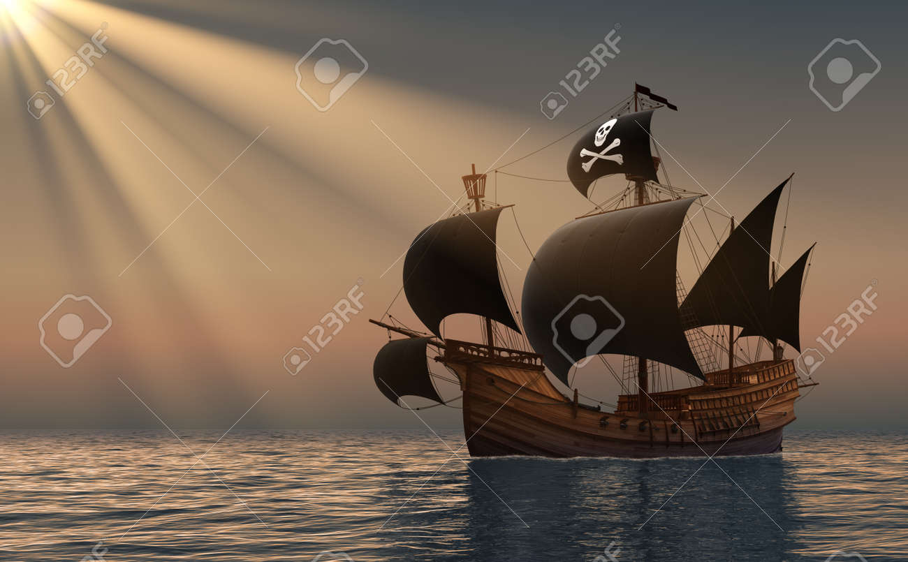 Pirate Ship In Rays Of the Sun. 3D Scene. - 51304848