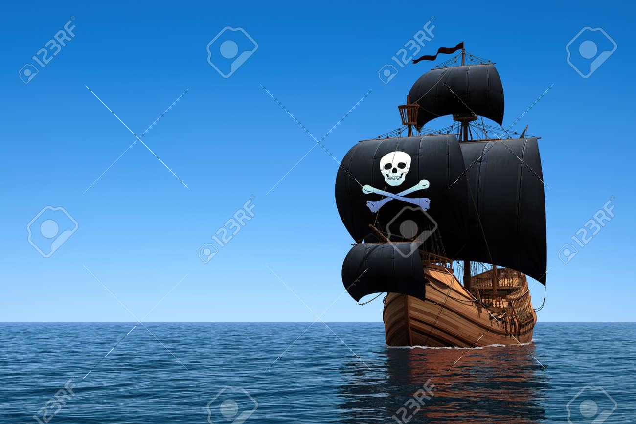 Pirate Ship In Blue Ocean. 3D Scene. - 51767497