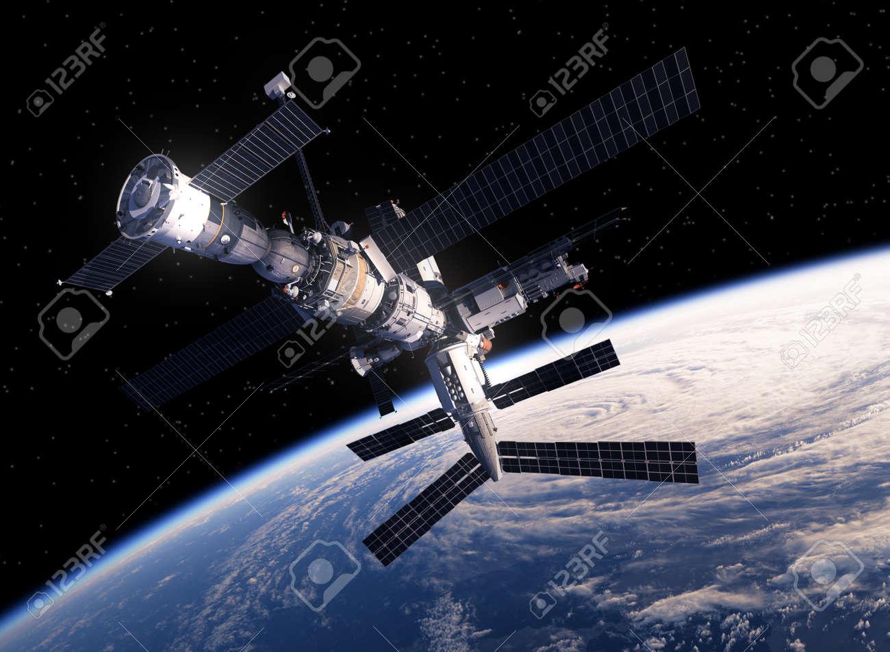 International Space Station Orbiting Earth. 3D Scene. - 54409555