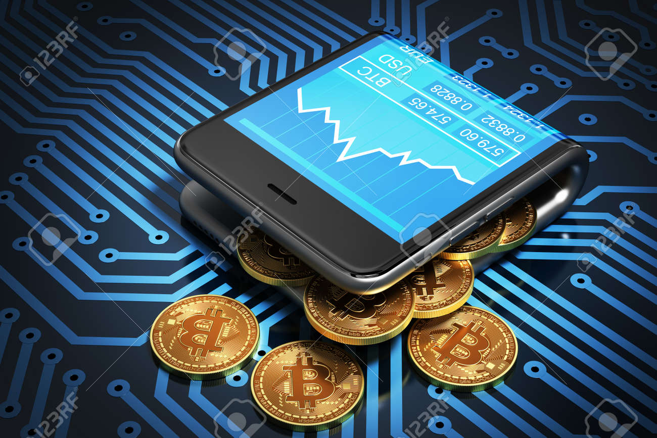 Concept Of Digital Wallet And Bitcoins On Printed Circuit Board. Bitcoins Spill Out Of The Curved Smartphone. 3D Illustration. - 64303524