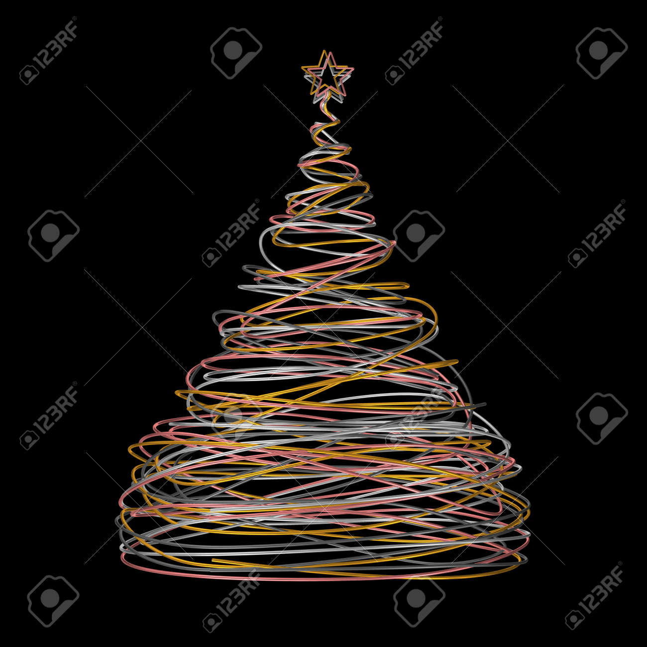 Christmas Tree Made Of Gold White Grey And Pink Wire On Black Stock Photo Picture And Royalty Free Image Image 62950526