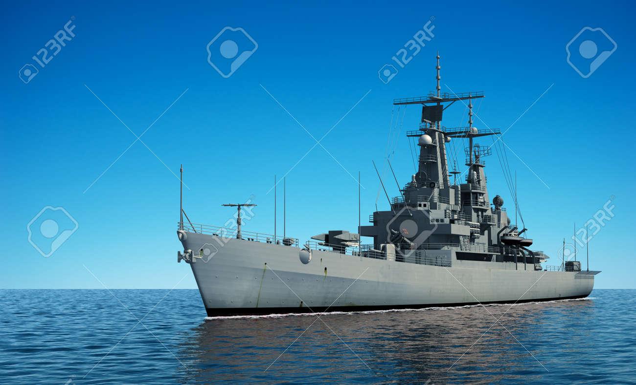 American Modern Warship In The Ocean. 3D Illustration. - 65523632