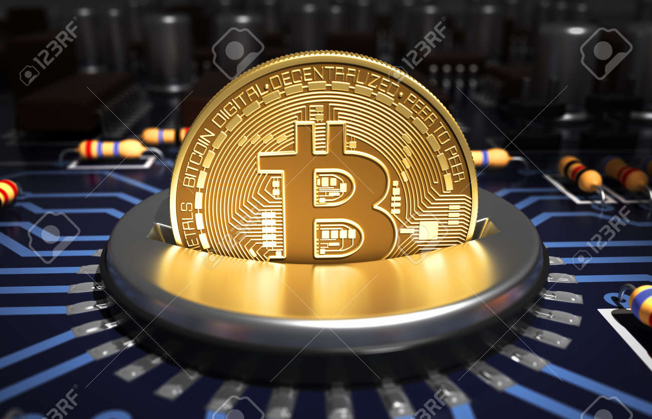 Putting Bitcoin Into Coin Slot On Blue Motherboard - 72391494