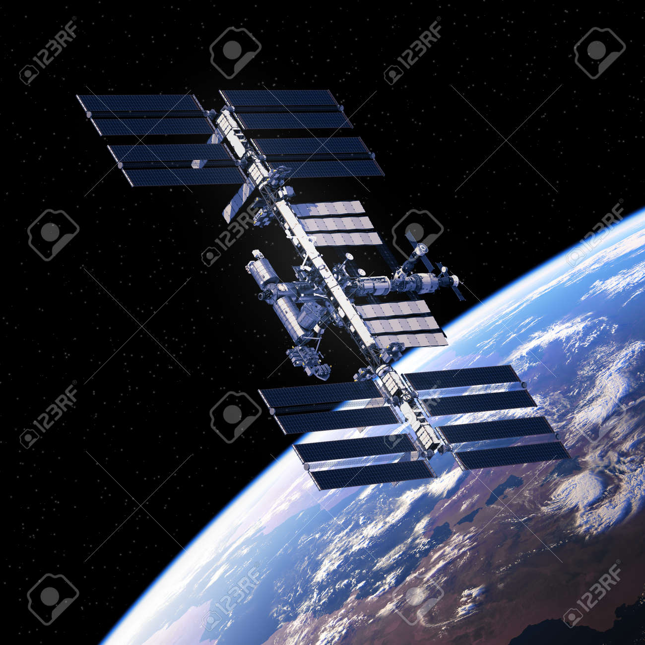 International Space Station Orbiting Planet Earth. - 73127874