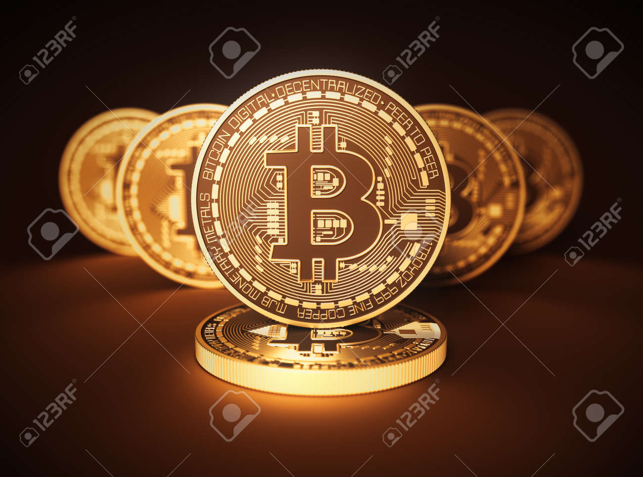 Virtual Coins Bitcoins On Brown Background - 74496371