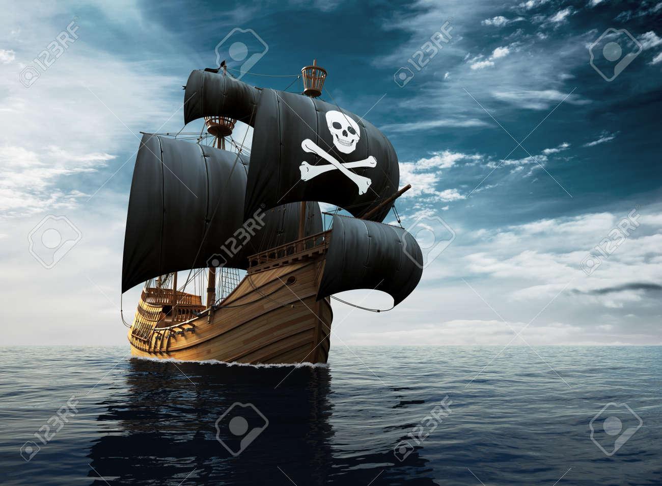 Pirate Ship On The High Seas - 80986650