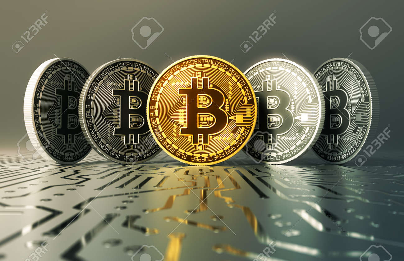 Gold And Silver Virtual Coins Bitcoins On Printed Circuit Board In Boards Stock Photo 88402127