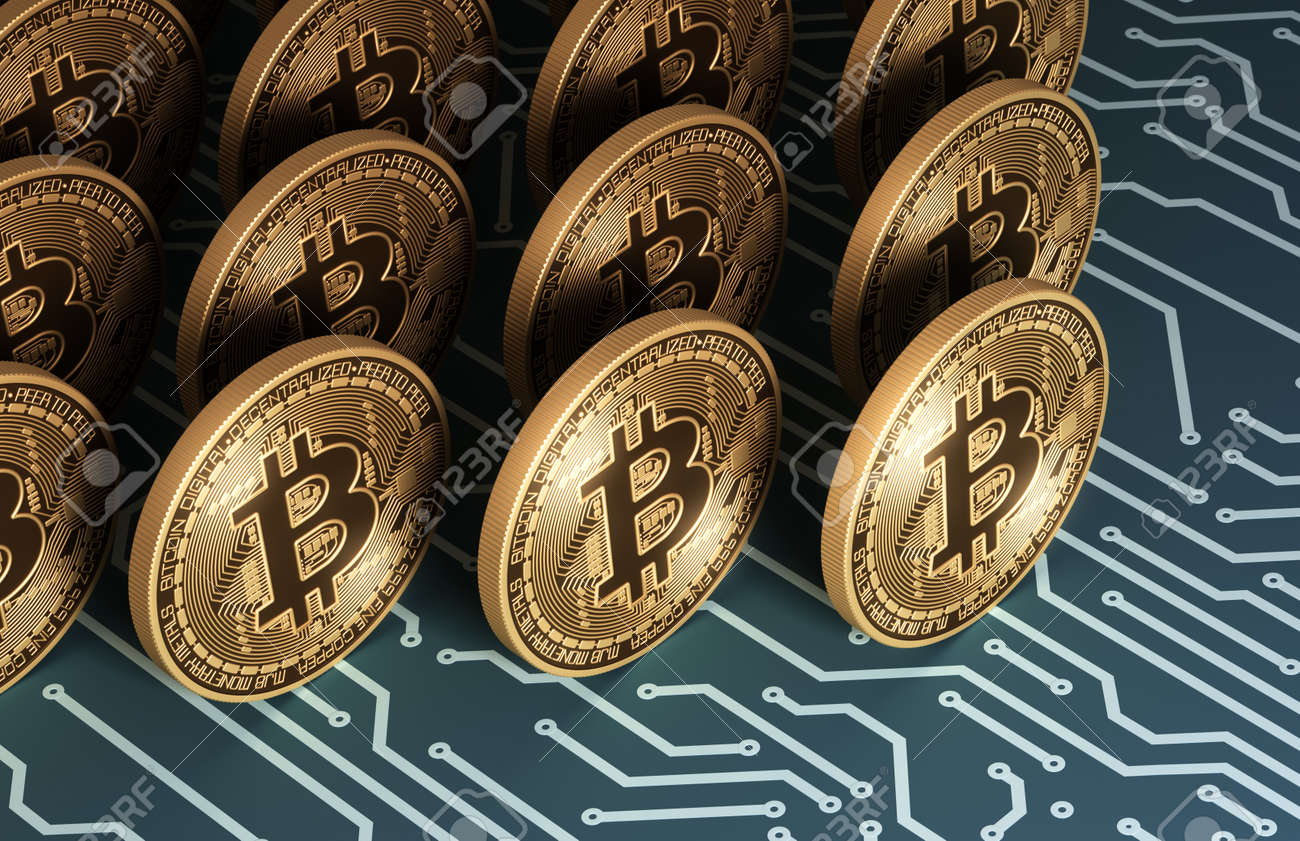 Gold Virtual Coins Bitcoins On Blue Printed Circuit Board Stock In Boards Photo 93012436