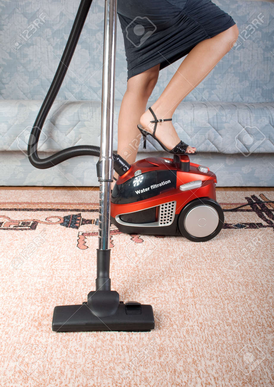 Kitchen Floor Vacuum House Work Vacuum Cleaner Girl Home Kitchen Housework Stock