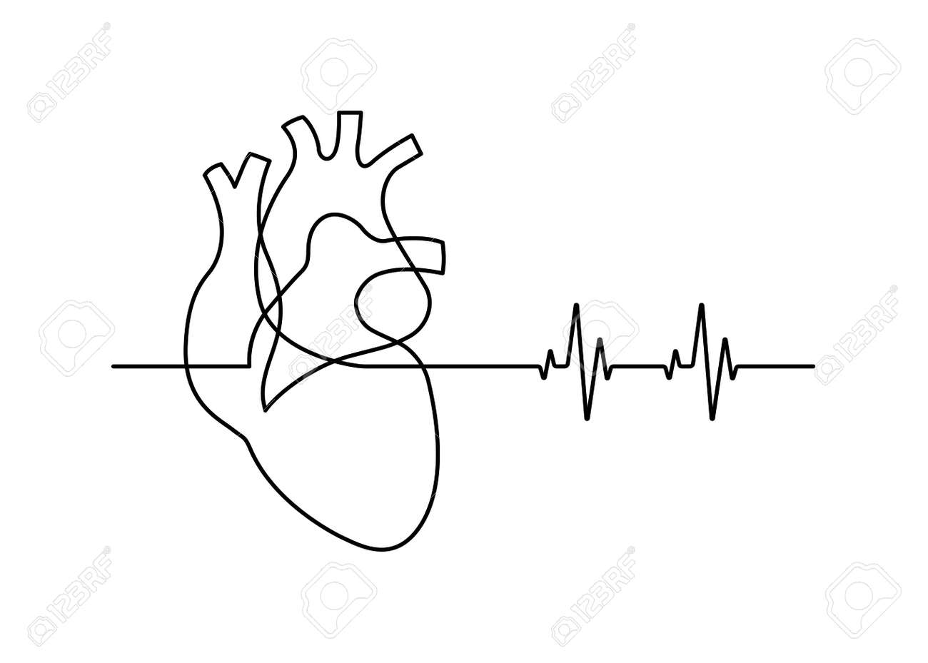Continuous Line Drawing Of Heart With Heartbeat On White Background