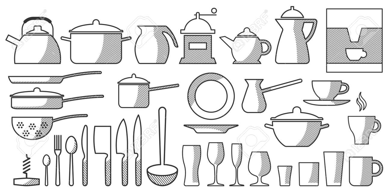 Vector Set Kitchen Utensils. Cooking tools flat style. Cook equipment isolated objects. Contains such Icons as Plate Stack, Wine glass, Unbreakable Dishes and more - Vector illustration. - 124921504