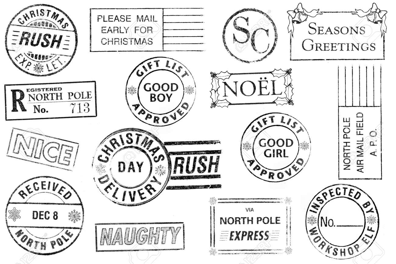 A set of 15 large, Christmas-themed stamps isolated on white. Ideal for bitmap brushes, holiday collages, etc. Stock Photo - 8257873