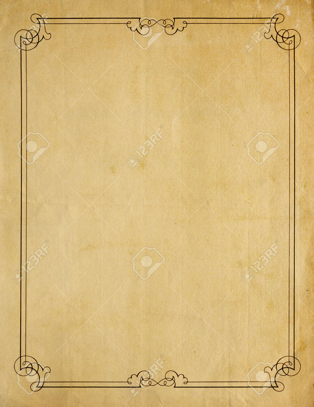 Aged and worn paper with abrasions, and creases and moderately ornate border printed in black ink, but page is otherwise blank with room for text or images. Stock Photo - 8877590