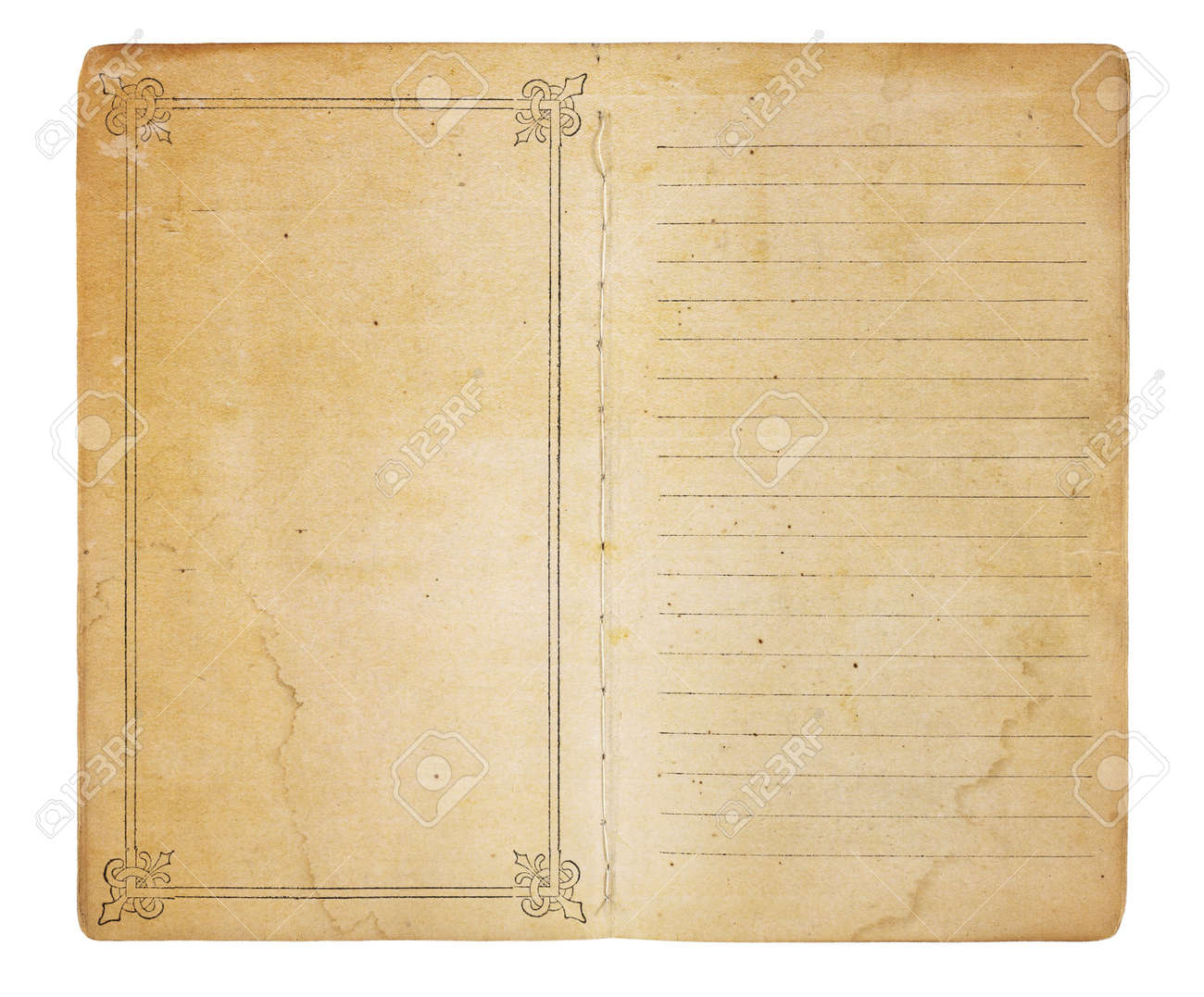 an old memo book opened to reveal yellowing stained pages one an old memo book opened to reveal yellowing stained pages one page is empty