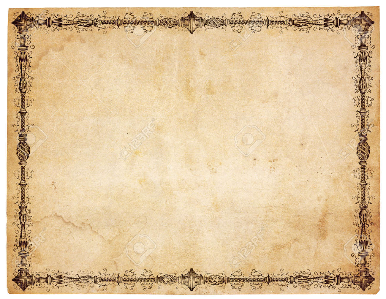 Aged, yellowing paper with stains and smudges. Blank except for very ornate victorian border. Isolated on white. Stock Photo - 9329873