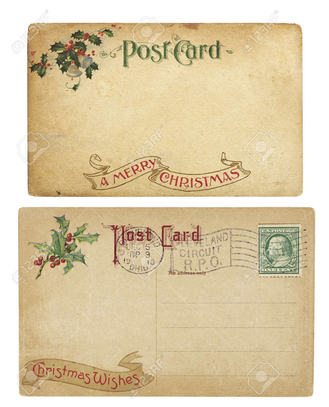 Two aging Christmas time postcards from 1910, isolated on white. Stock Photo - 10844501