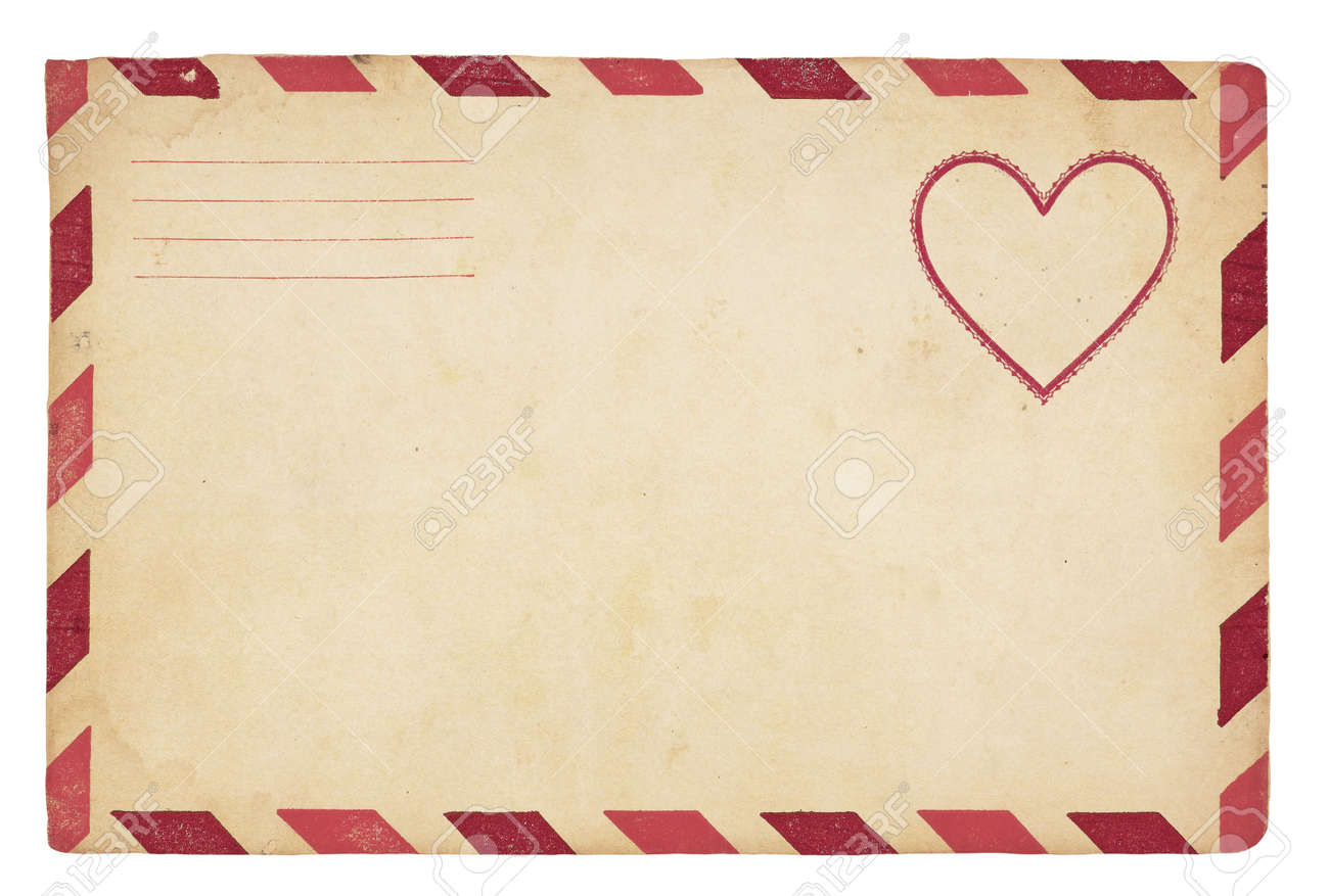The Front Of An Vintage Valentine Themed Envelope With Red Striped