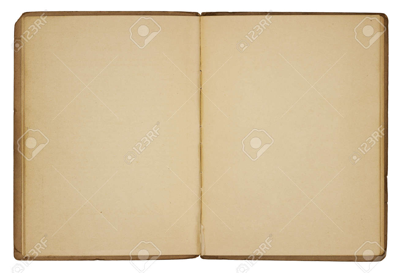 A vintage booklet viewed from above and opened to reveal blank, yellowing pages with rough, creased edges and dog-eared corners. Isolated on white. Includes clipping path. Stock Photo - 12197423
