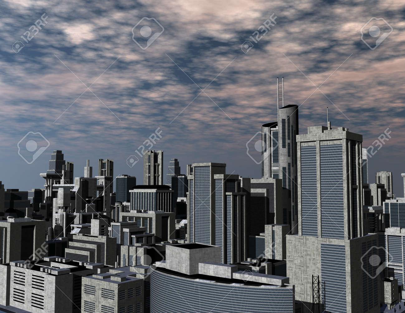 digital rendering of a futuristic city Stock Photo - 8076849