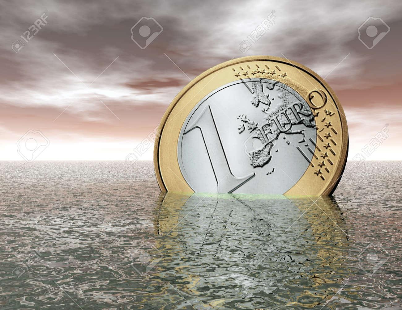 digital visualization of a sinking euro Stock Photo - 8118270