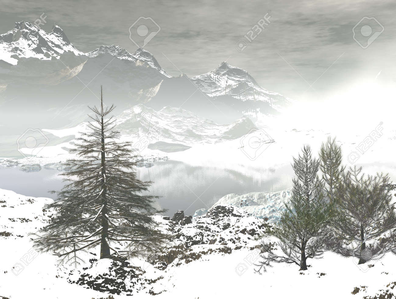 digital visualization of a winter landscape Stock Photo - 8118278