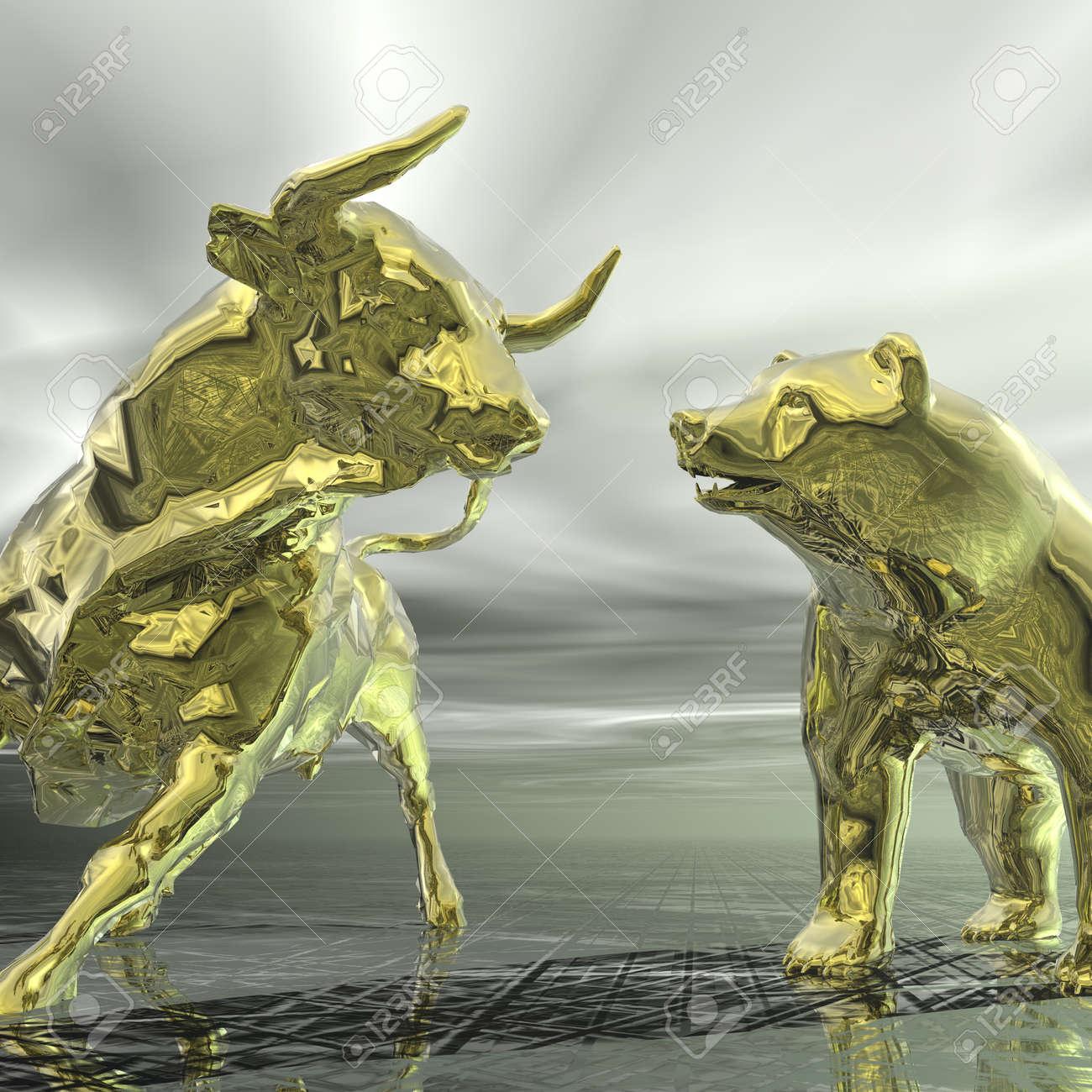 digital visualization of bull and  bear Stock Photo - 21474203