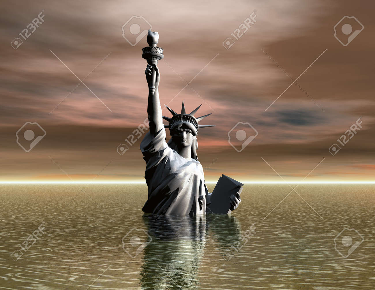 Digital Illustration of the Liberty Statue - 21809911