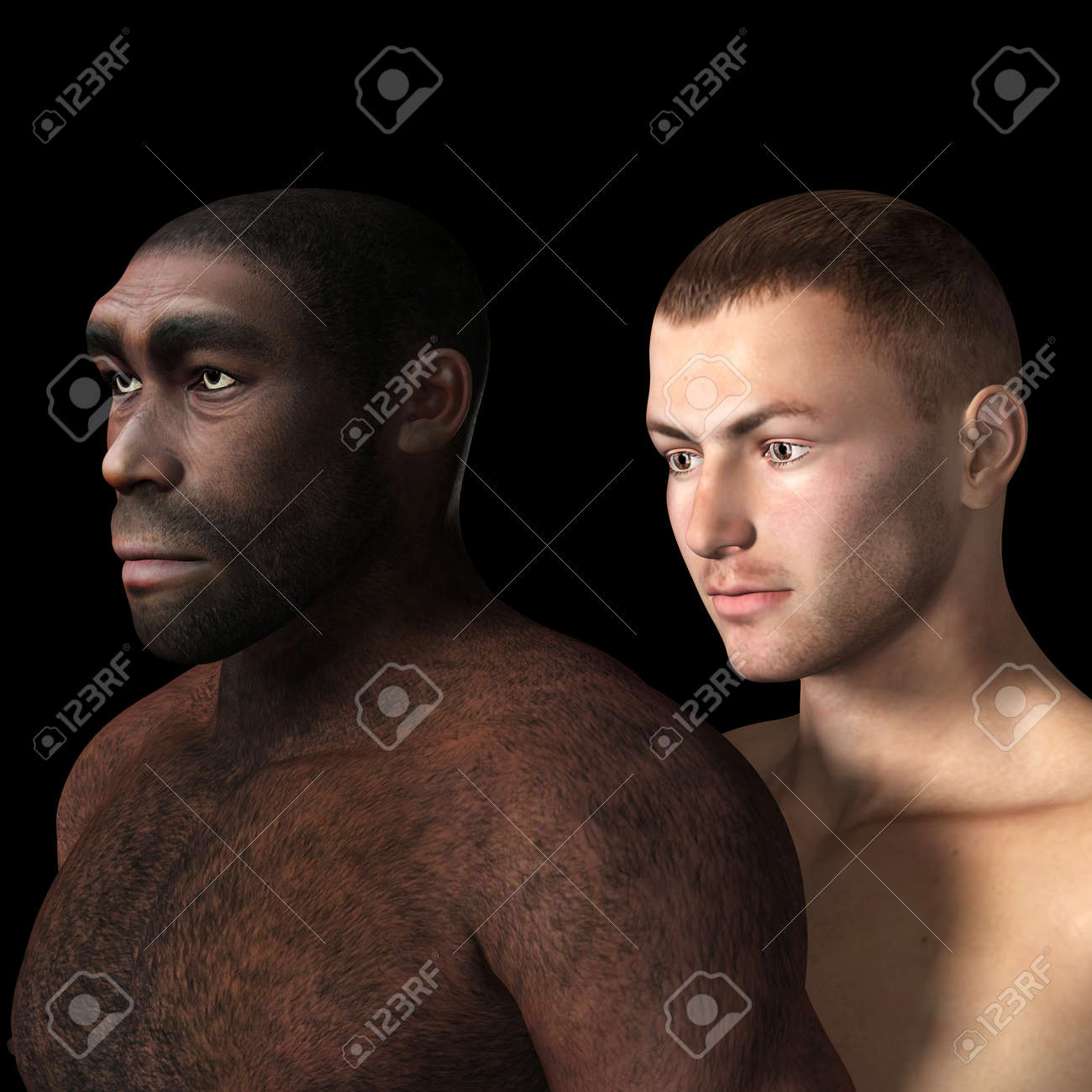 Digital Illustration of black and white male. Banque d'images - 22276517